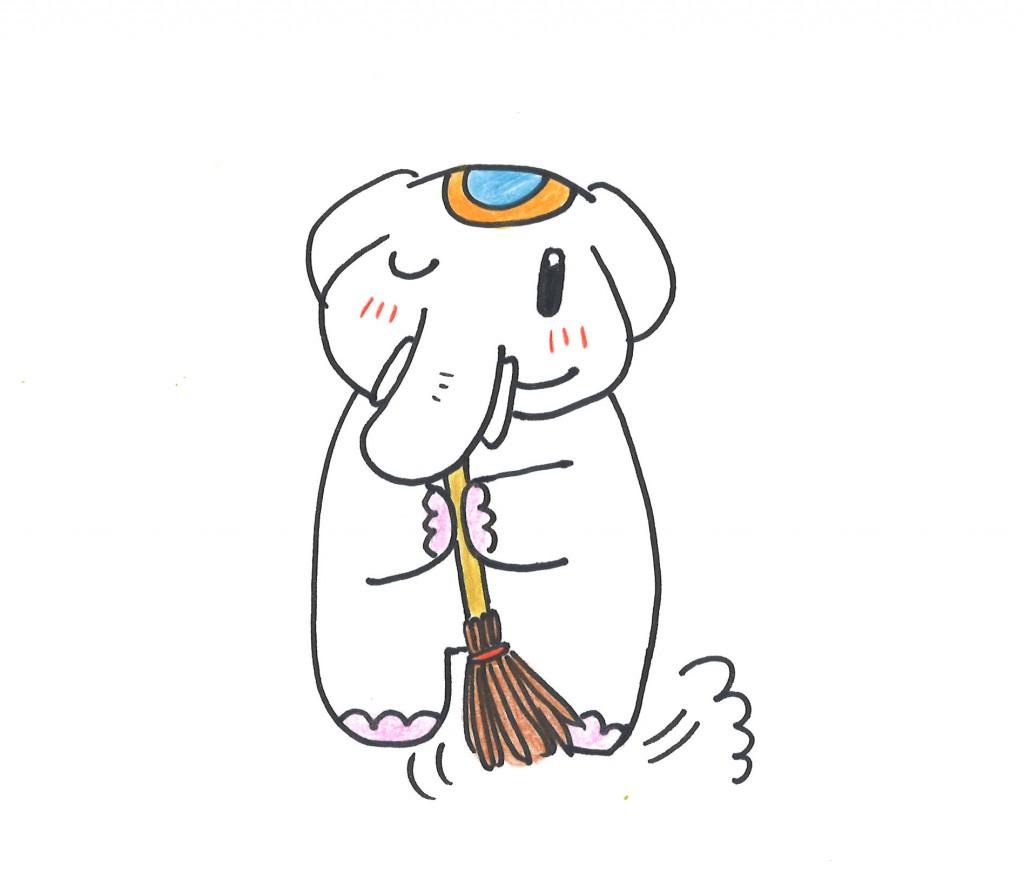 朝掃除をすると金運を呼び込むゾウ♡