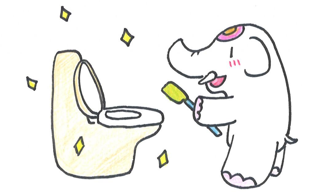 トイレ掃除で金運アップだゾウ!