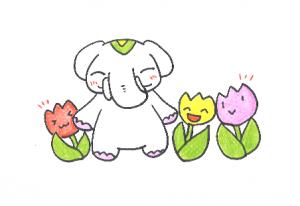 チューリップの花言葉は【思いやり】だゾウ!