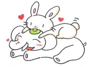 可愛いウサギで開運するゾウ♪