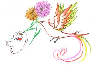 金運アップ待ち受け!幸運を運ぶ【花喰い鳥】だゾウ♪