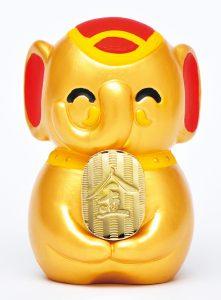 新登場! 金色に輝く吉ゾウくん像 金運増大の利益が絶大